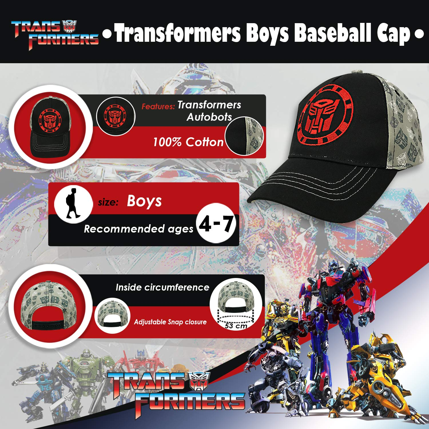 580adfe83d4d0 Amazon.com  Transformers Autobot Logo Black and Grey Baseball Cap - Size  Boys  Clothing