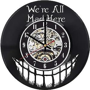 Gifts by N Alice in Wonderland Vinyl Clock, Cheshire Cat Wall Clock, Alice in Wonderland Room Decor, Alice Record Clock, Alice in Wonderland LP Clock, Alice in Wonderland Nursery, Cheshire Car Art