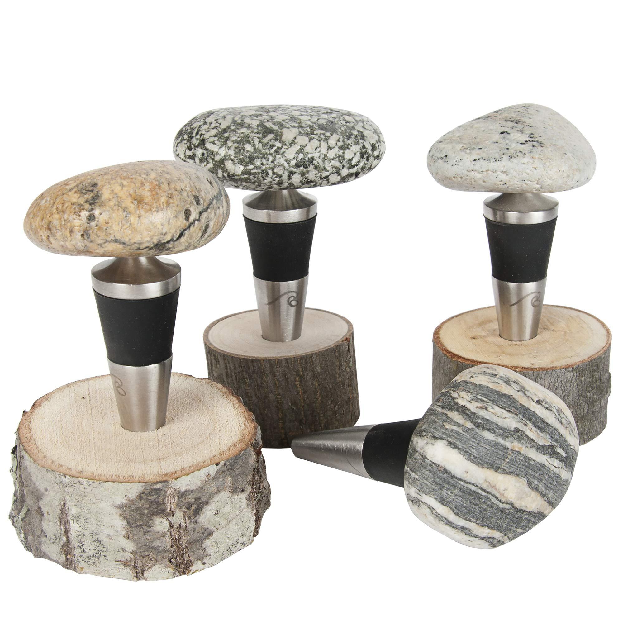 Sea Stones Artisanal Steel Cone Wine Bottle, Liquor Bottle and Olive Oil Stopper with Natural Hardwood Base