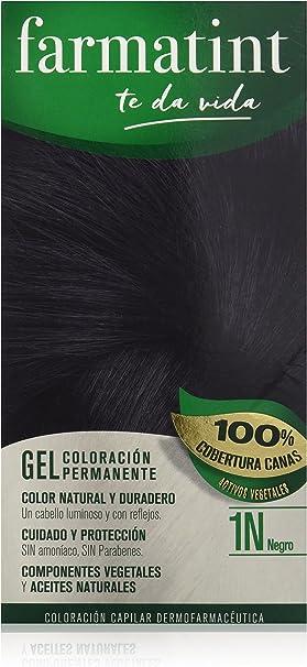Farmatint Gel 1N Negro | Color Natural y Duradero | Componentes Vegetales y Aceites Naturales | sin Amoníaco | sin Parabenos | Dermatológicamente ...