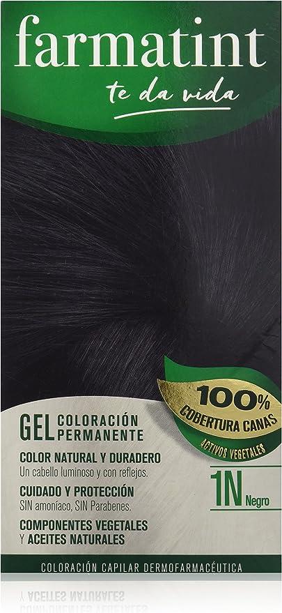 Farmatint Gel 1N Negro   Color Natural y Duradero   Componentes Vegetales y Aceites Naturales   sin Amoníaco   sin Parabenos   Dermatológicamente ...