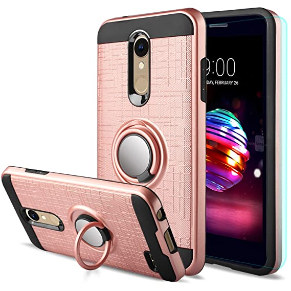 sale retailer d8e56 fea4f LG K30 Case,LG Phoenix Plus/LG Harmony 2/LG Premier Pro/LG K10 2018 Case  with HD Screen Protector,Anoke Cellphone 360 Degree Rotating Ring Holder ...