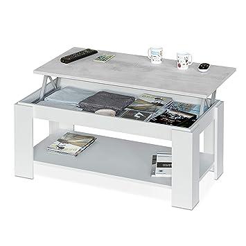 Habitdesign 0L1639A - Mesa de Centro con revistero Incorporado, mesita elevable de Comedor Modelo Ambit