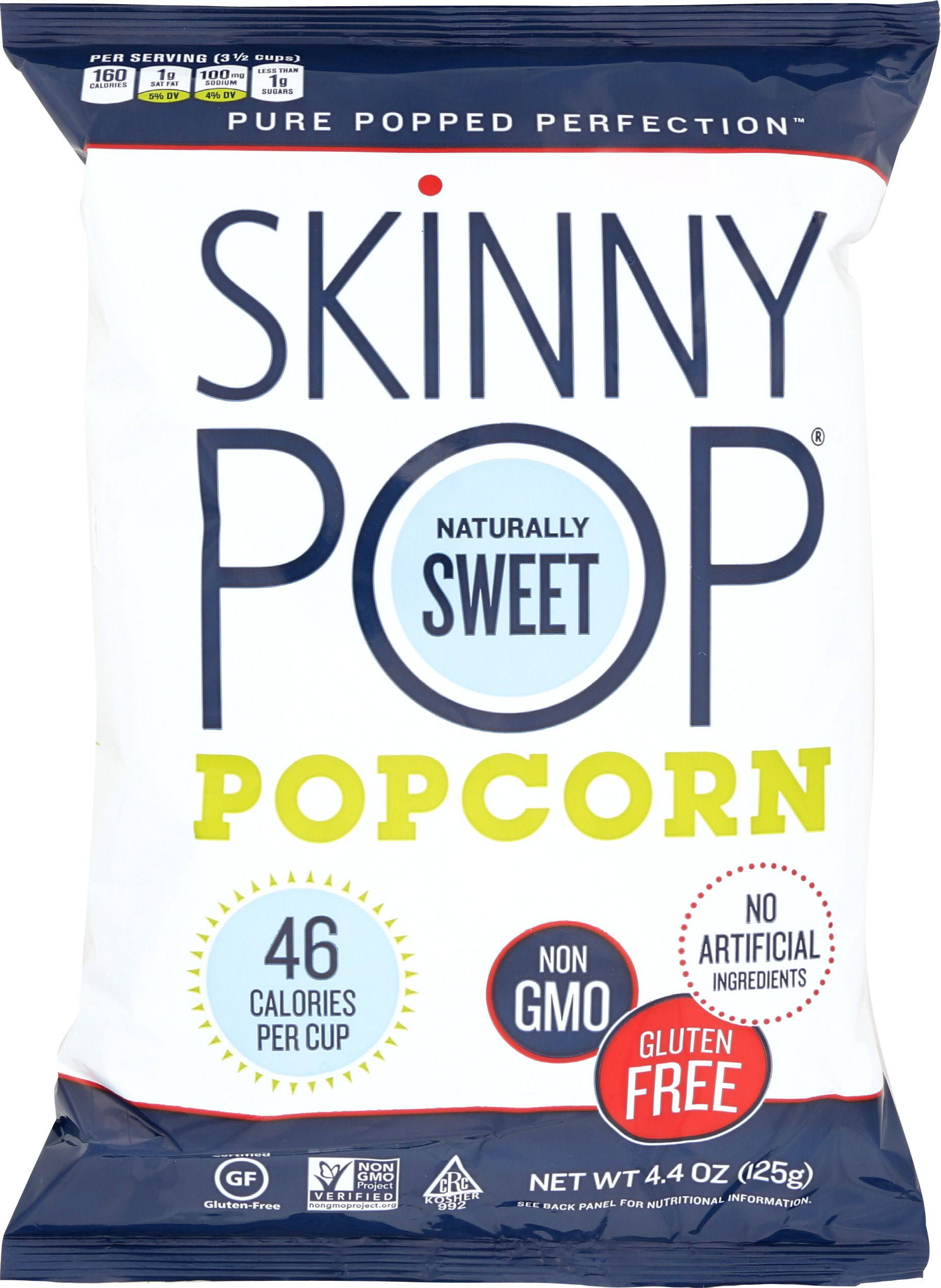 SkinnyPop Popcorn, Naturally Sweet, 4.4 Ounce (Pack of 12)