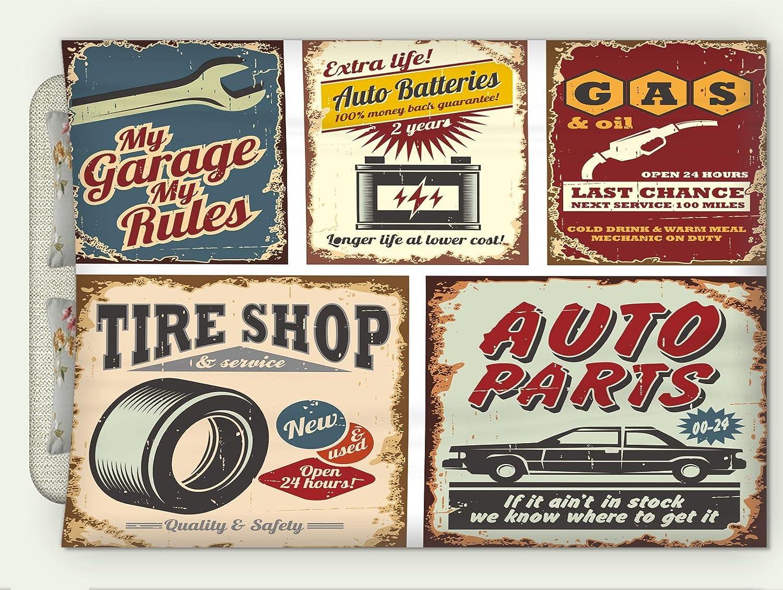 Custom Flannel Throw Blanket 1950s Decor Collection Vintage Car Metal Signs Automobile Advertising Repair Vehicle Garage Classics Serv Autumn Winter