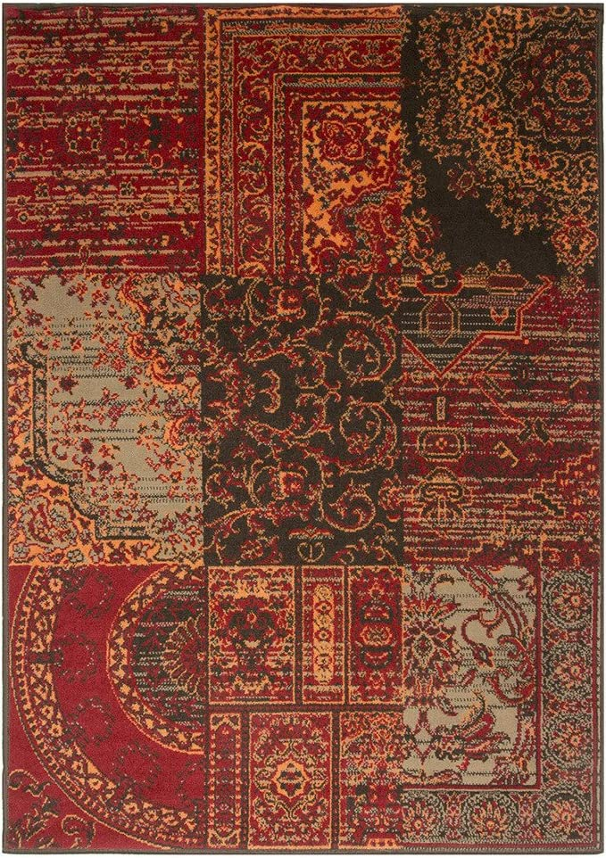 Milan Warm Red Brown Burnt Orange Grey Rug Traditional Living Room Area Rugs 80cm X 150cm Amazon Co Uk Kitchen Home