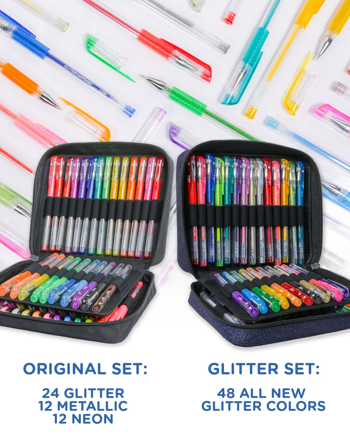 ColorIt 96 Gel Pens For Adult Coloring Books - 2 Travel Case Gel Pen Sets with 72 Glitter, 12 Metallic, 12 Neon Plus 96 Matching Colored Gel Ink Refills by ColorIt (Image #2)