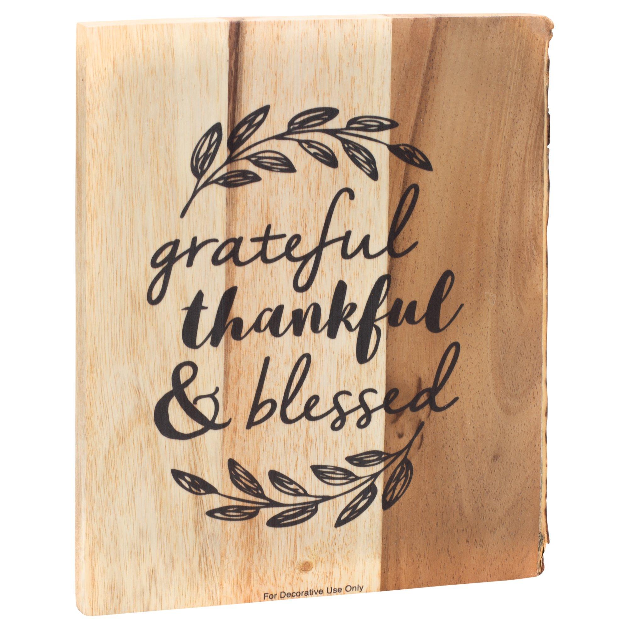 Grateful, Thankful, Blessed Bark Edgeing Acacia Wood Cutting Board