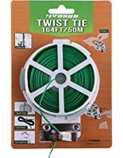 VIVOSUN 164 Feet Twist Tie Roll Spool Dispenser with Cutter Secure Garden Plant Multi-Function Cable Snack Tie