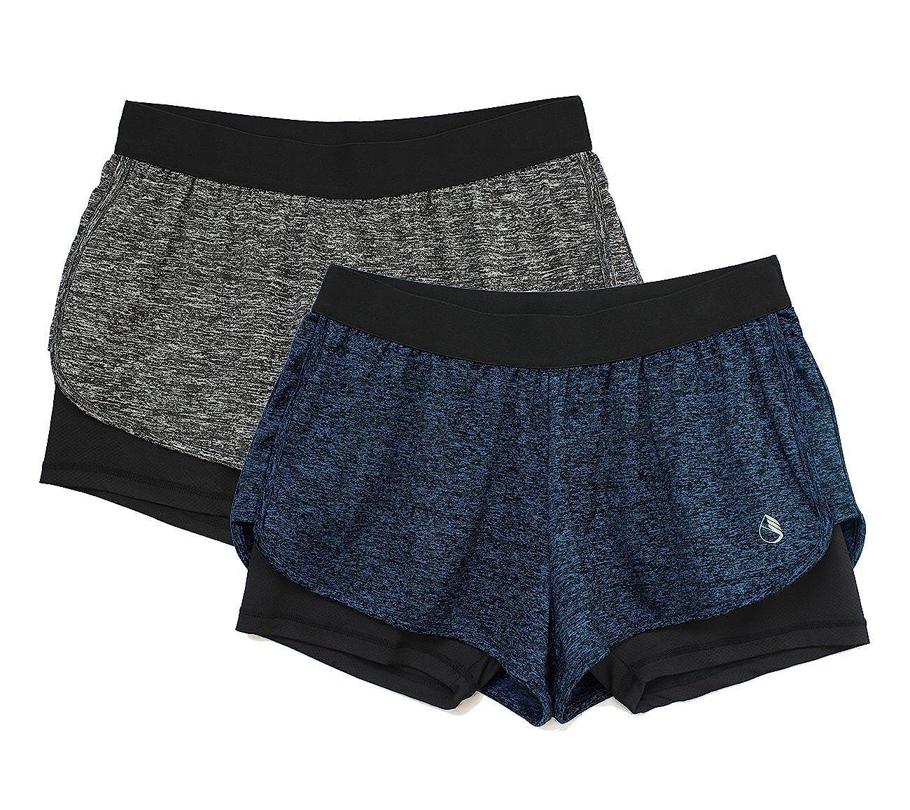 Pack de 2 icyzone 2 en 1 Pantal/ón Corto para Mujer para Correr