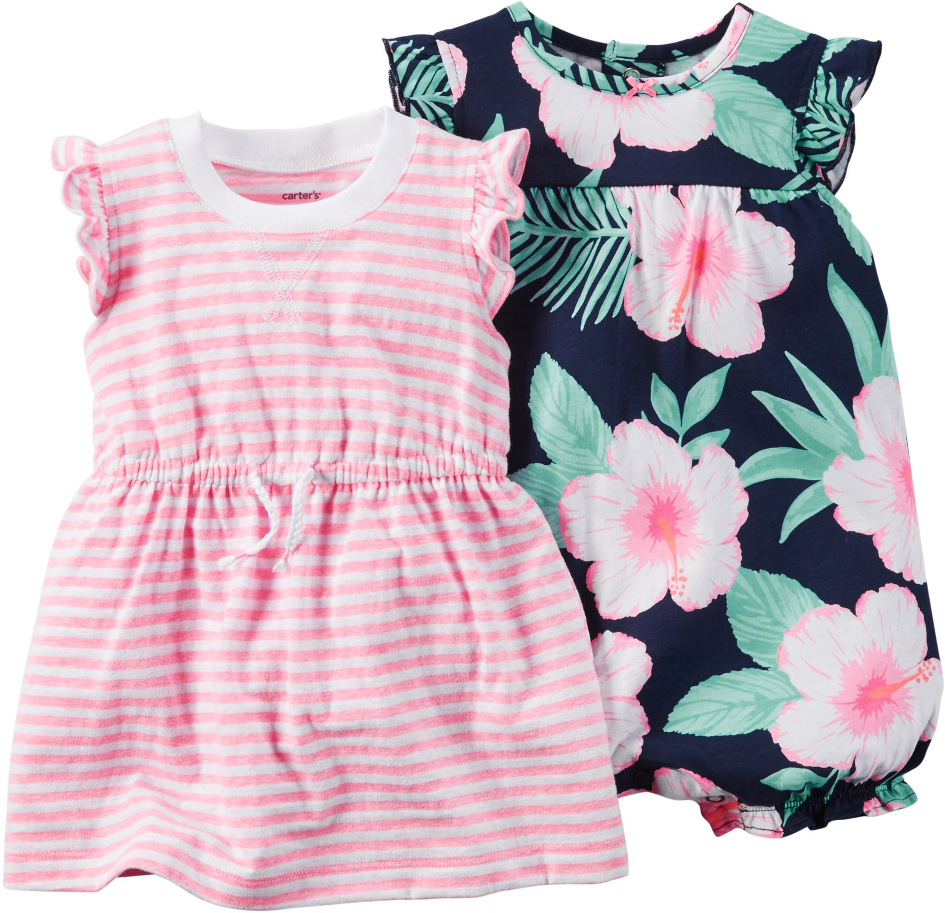 Carter's Baby Girls' 2 Pack Rompers 121g480, Pink Floral, 9 Months
