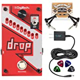 DigiTech DROP Compact Polyphonic Drop Tune Pitch Shift Pedal with Momentary/Latch Switching and True Bypass Bundle With Blucoil 9V Slim Power Supply, 2-Pack of Patch Cables AND 4 Guitar Picks