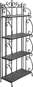 57-Inch Folding Black Metal & Wood Bookshelf / 4 Tier Storage Organizer Shelves Rack