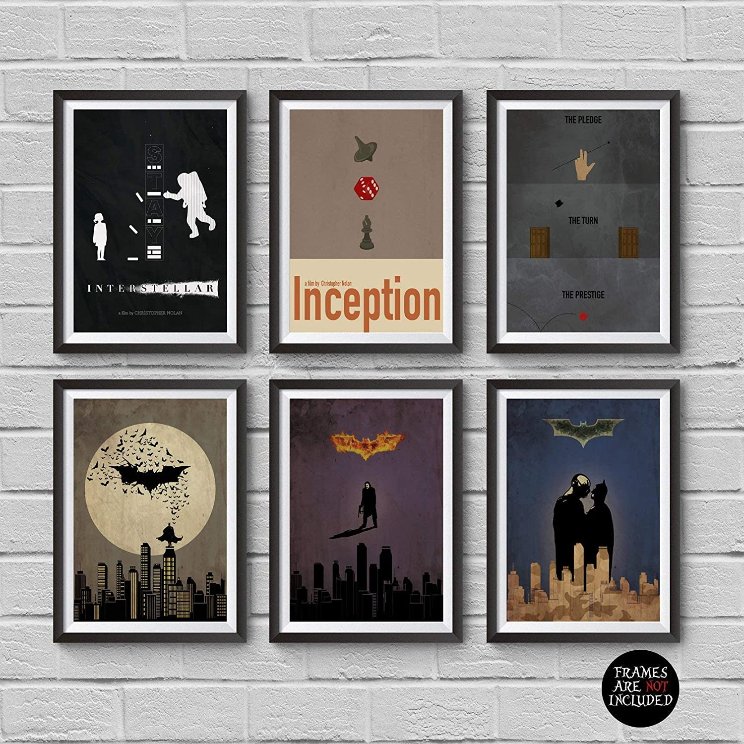 Christopher Nolan Minimalist Poster Set of 6 Films Interstellar Batman Begins The Dark Knight The Dark Knight Rises Inception The Prestige Print Wall Artwork Home Decor Hanging Cool Gift