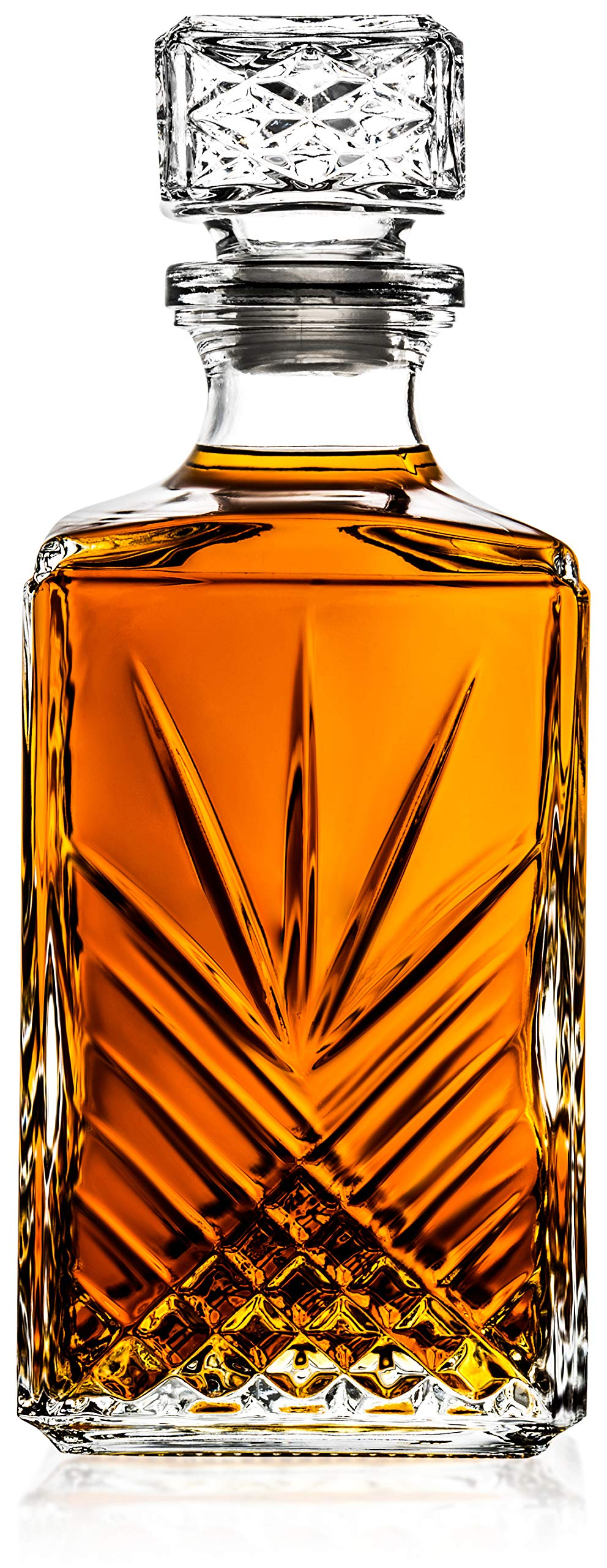 Italian Made Glass Whiskey Decanter – For Liquor, Brandy, Vodka and Scotch | with Sophisticated Diamond Design | 33.75oz with Airtight Stopper | Packaged in an Exquisite Gift Box