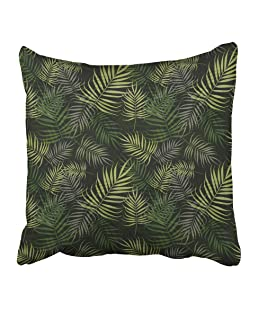 Emvency Decorative Throw Pillow Covers Cases Watercolor Leaf Palm Leaves Pattern on Green Wild Hawaii Tropical Abstract Travel Beach Caribbean 16x16 Inches Pillowcases Case Cover Cushion Two Sided