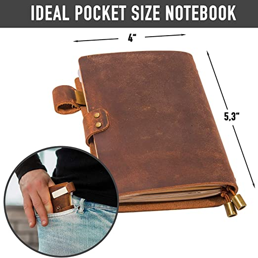 Genuine Leather Notebook Notepad For Men /& Women /& Kids Leather Travel Journal Scrapbook with Pen Holder Handmade Refillable Pocket Notebook Card Slots and Zippered Pouch