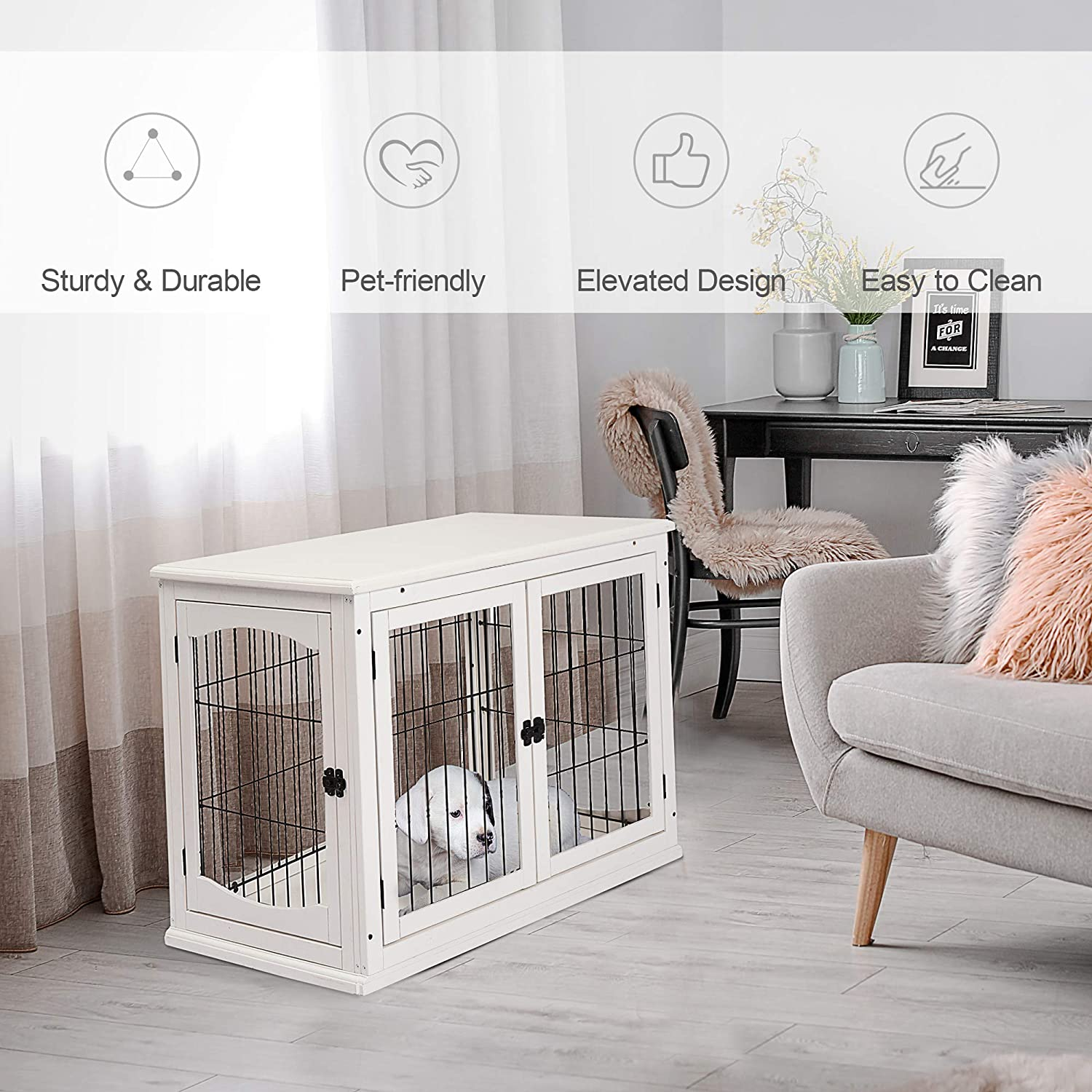 Pawhut Pet Crate End Table Wooden Dog Kennel Cage w//Metal Wire 3 Doors Latches Small Animal House Modern Design Indoor White 58.5 x 81 x 66 cm