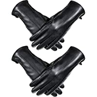 SATINIOR 2 Pairs Women Touchscreen Leather Gloves Winter Full-hand Driving Gloves, Black, Large