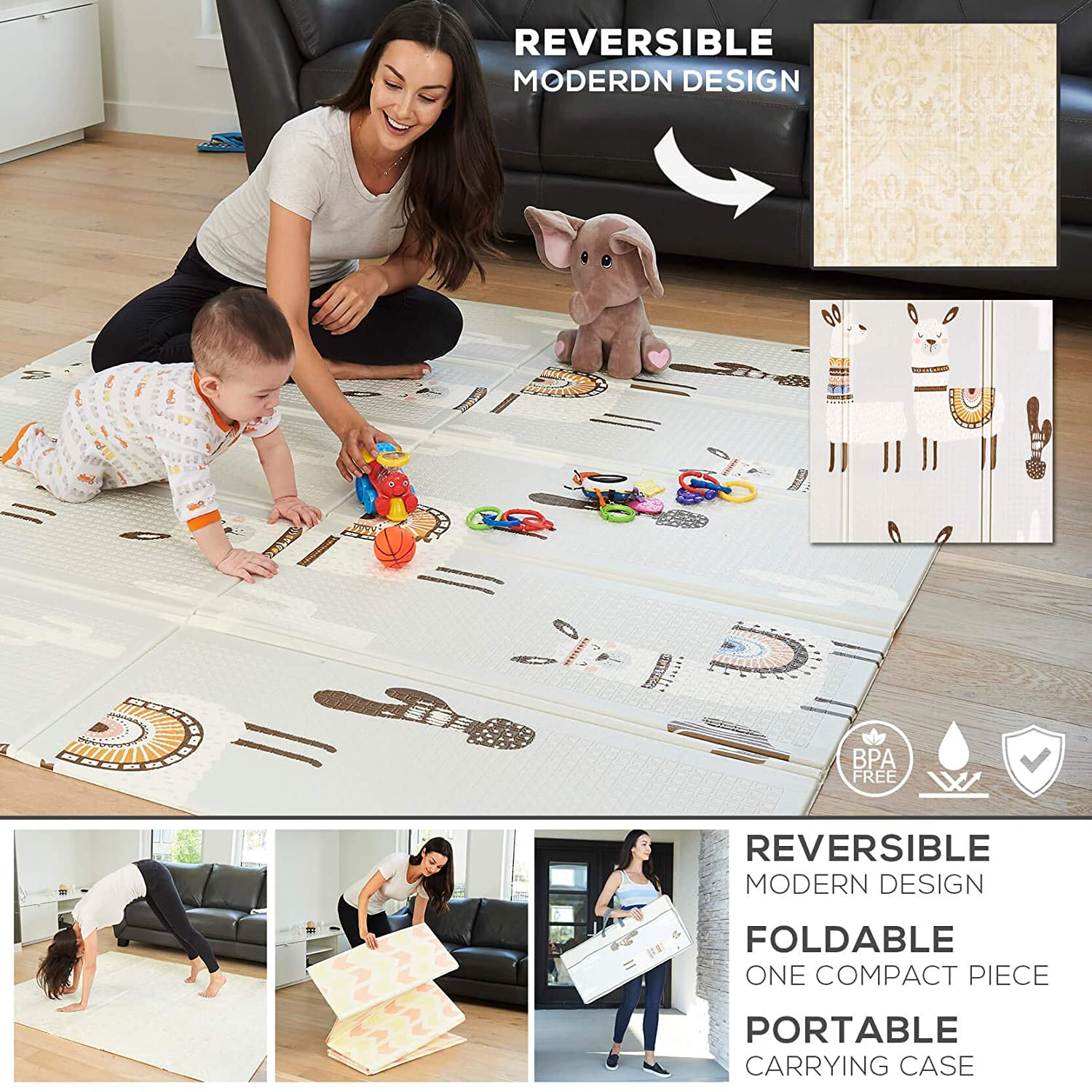 Foldable Play Mat – A Modern Design on One Side Reversible into Cute Llama Design on The Other. Our Soft Foam Kids Playmat is Great on The Floor for Baby and Toddlers, Crawling, Gym or Tummy Time