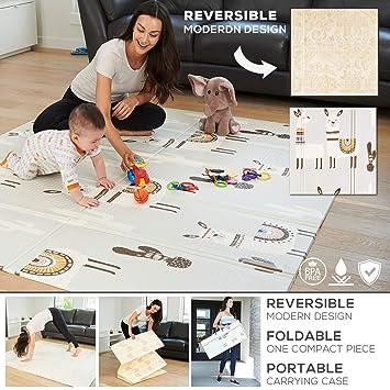 Amazon.com: Alfombra de juegos para bebé reversible ...