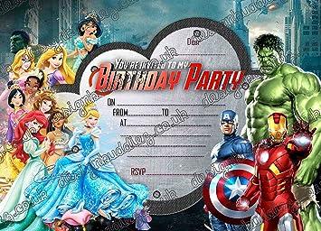 10 Cartes D Invitation Pour Anniversaire Princesses Disney
