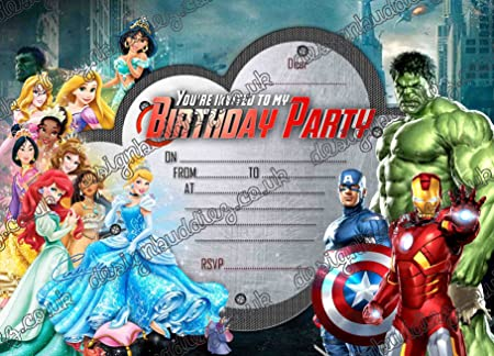 40 X Disney Princess Super Hero Birthday Party Invites With FREE Envelopes Amazoncouk Kitchen Home
