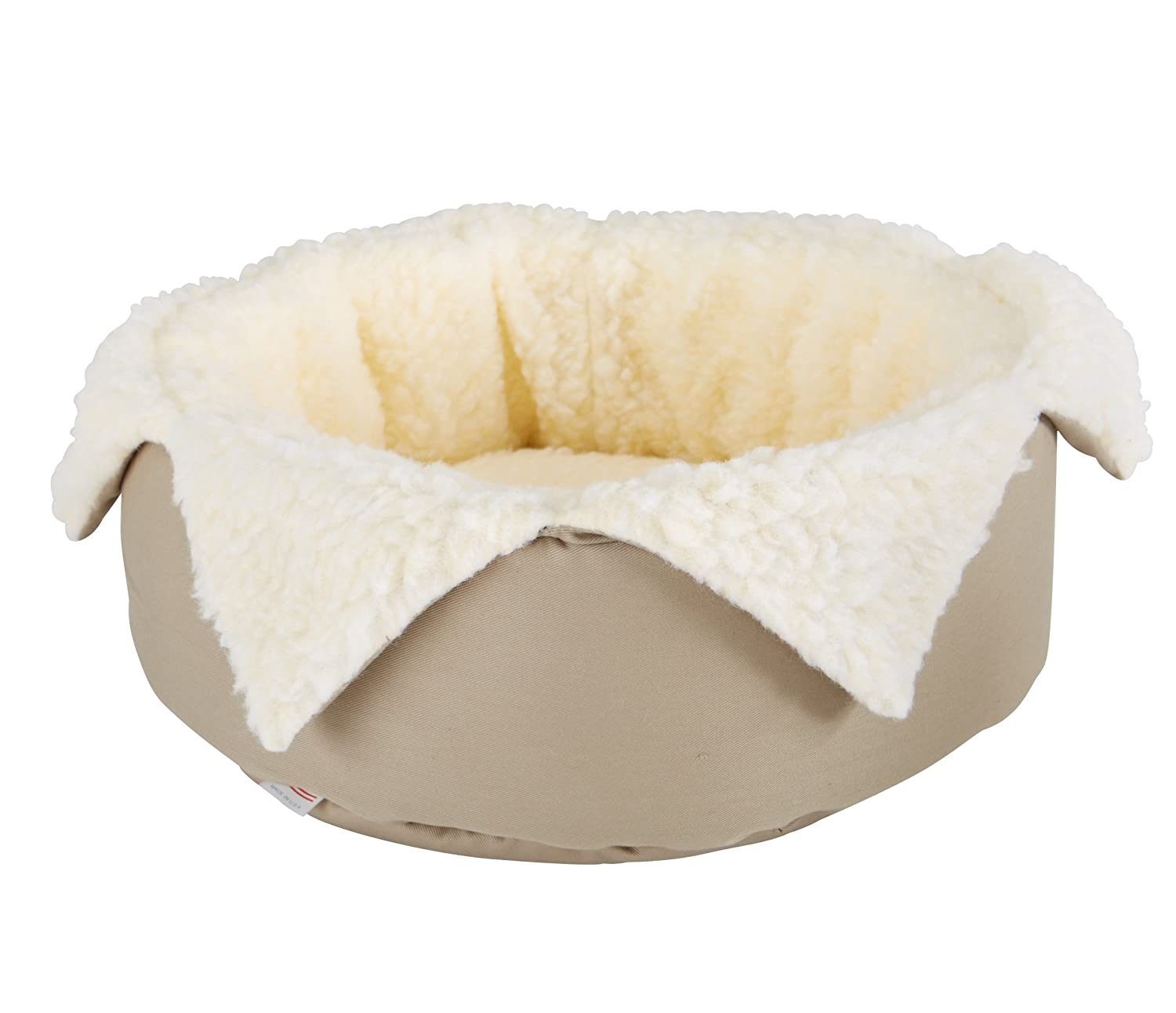Khaki Great State Pet Round Jester Bed for Pets, 15-Inch, Khaki