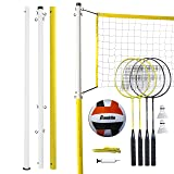 Franklin Sports Volleyball and Badminton Family Set - Volleyball, Pump, Badminton Rackets, Birdies, Net, and Adjustable Polls - Beach or Backyard Setup
