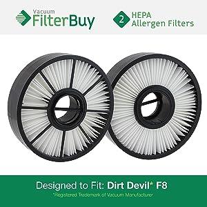 2 - FilterBuy Dirt Devil F8 (F-8) HEPA Replacement Filters, Part # 3UD0280001. Designed by FilterBuy to fit Dirt Devil Ultra Vision Turbo & Power Streak Vacuum Models