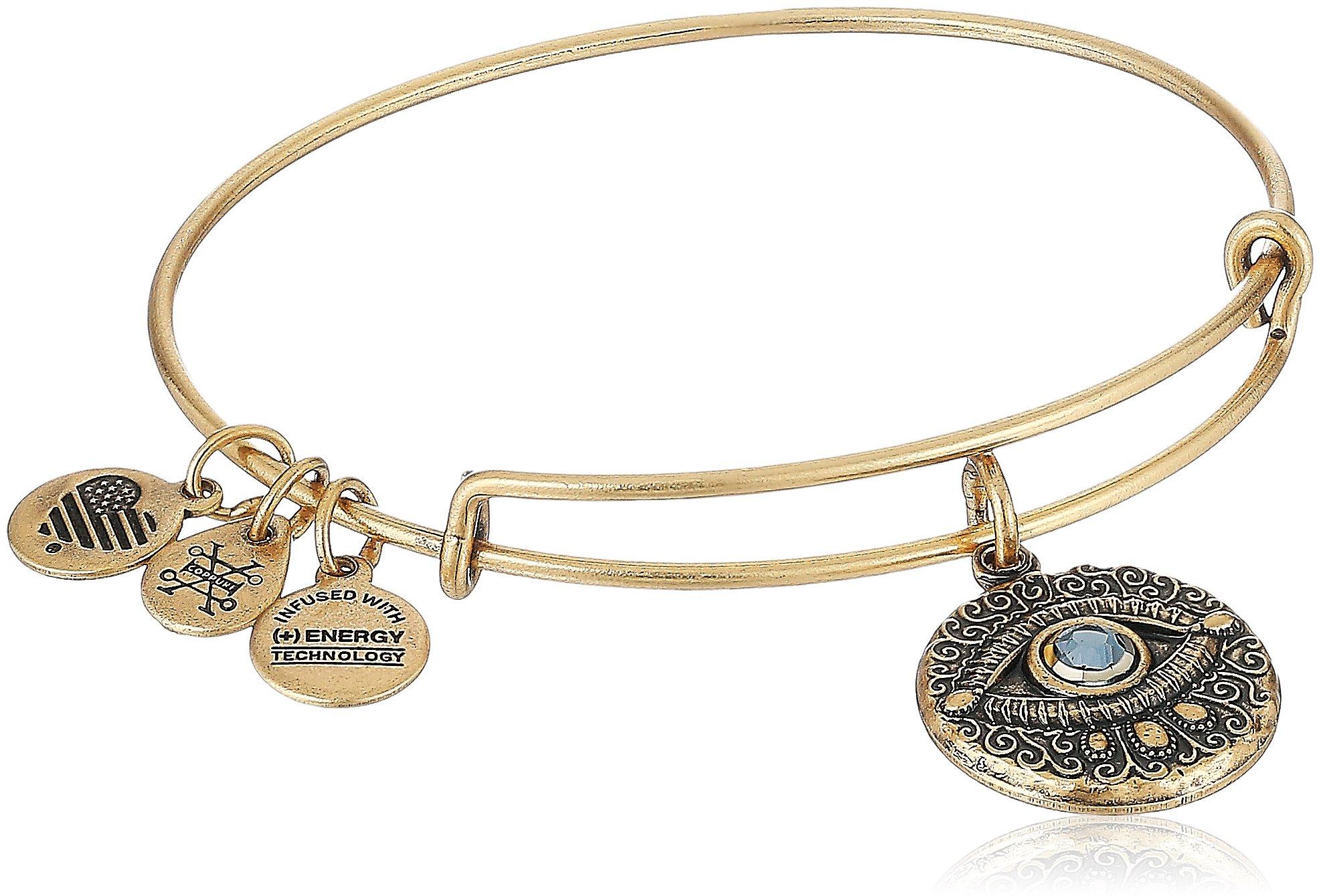 Alex and Ani Evil Eye Bangle Bracelet, Rafealian Gold, Expandable