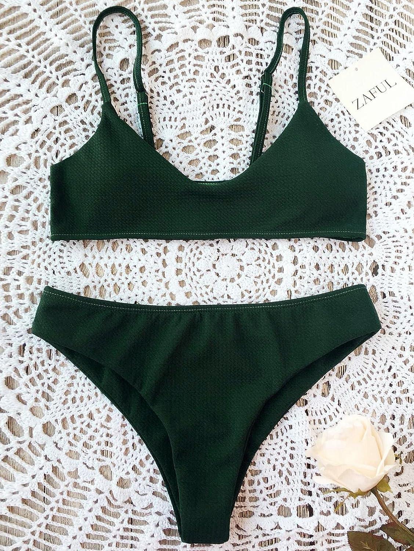 3319dd5e04261 ZAFUL Women s High Cut Bralette Bikini Bottom Two Piece Swimwear Bikini Set  at Amazon Women s Clothing store