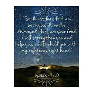 """""""Do Not Fear, I Am With You""""- Isaiah 41:10- Bible Verse Wall Art- 8x10""""-Starry Night w/Lit Path-Scripture Wall Print-Ready to Frame. Home Décor-Office Décor-Christian Gifts. He Strengthens & Upholds."""