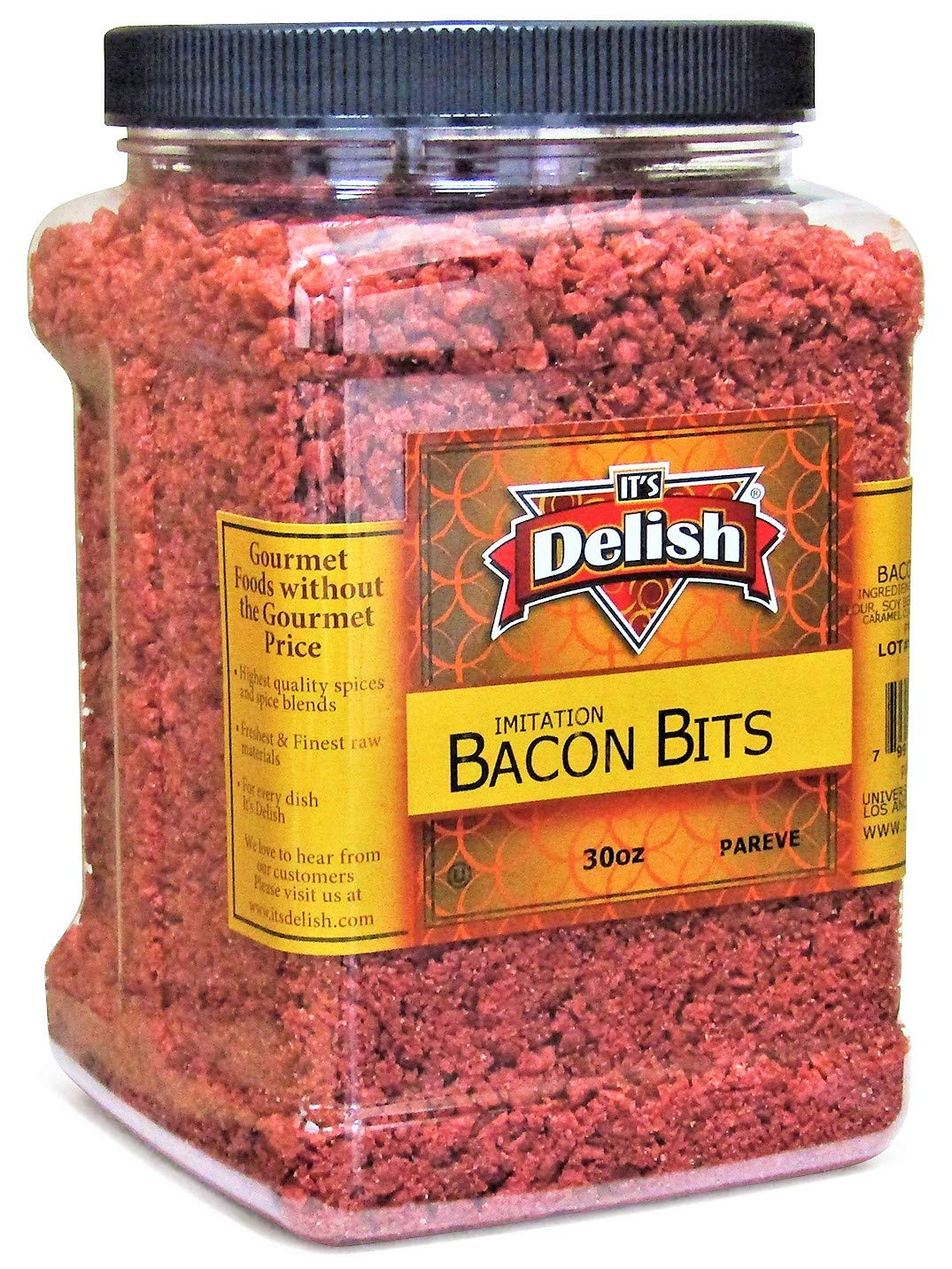 Imitation Bacon Bits by Its Delish, 30 Oz Jumbo Reusable Container | Kosher Parve Vegan for Salad Topping, Eggs, Baked Potatoes with Smoky Flavor and Crunch