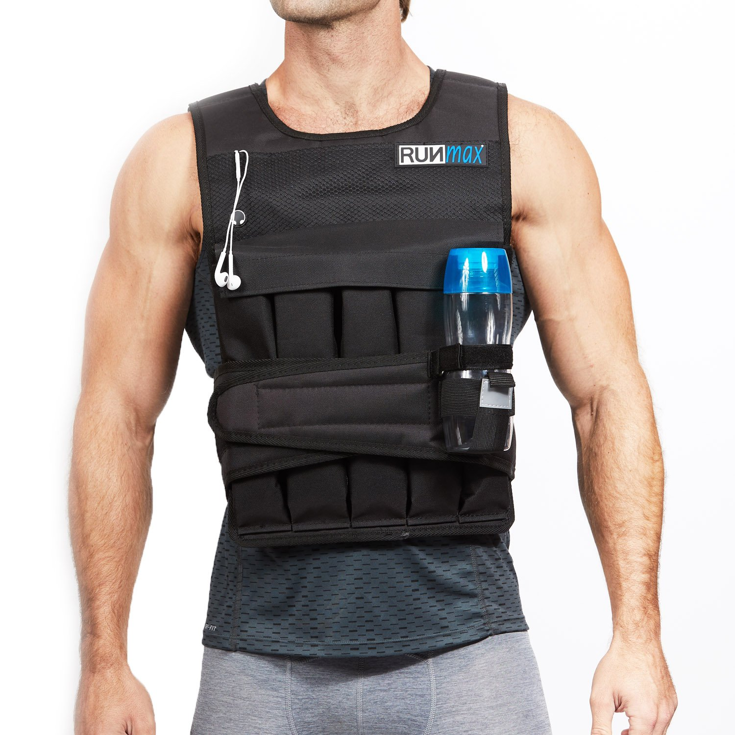 RUNFast Pro Weighted Vest 12lbs-60lbs (with Shoulder Pads, 60 LB) by RUNmax (Image #2)