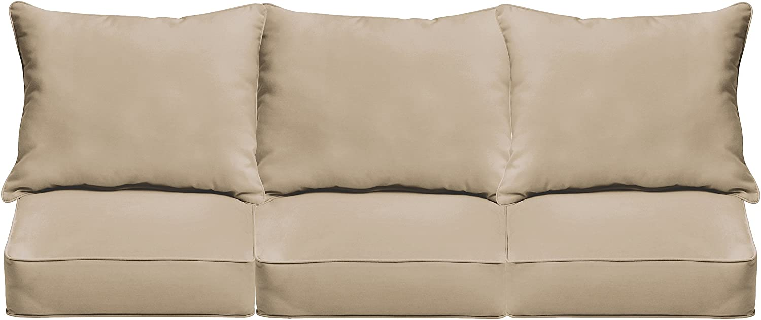 Mozaic AZPCSET4362 Indoor or Outdoor Deep Sofa Seat Cushion Set with Corded Edges, 25 x 69 x 5, Tan Beige