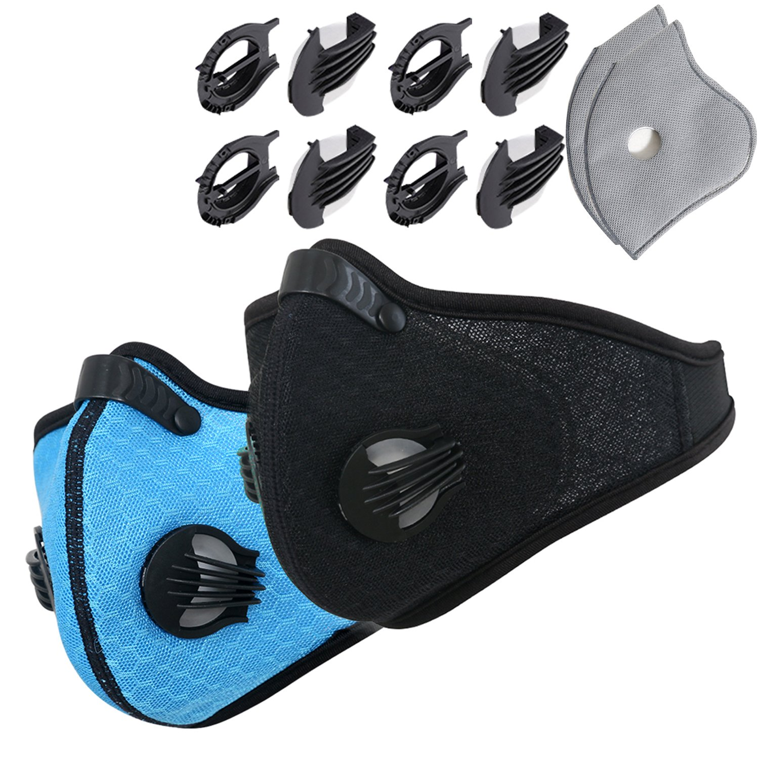 Novemkada Dustproof Masks - Activated Carbon Dust Mask with Extra Filter Cotton Sheet and Valves for Exhaust Gas, Pollen Allergy, PM2.5, Running, Cycling, Outdoor Activities (Black+Blue, Dust Masks)
