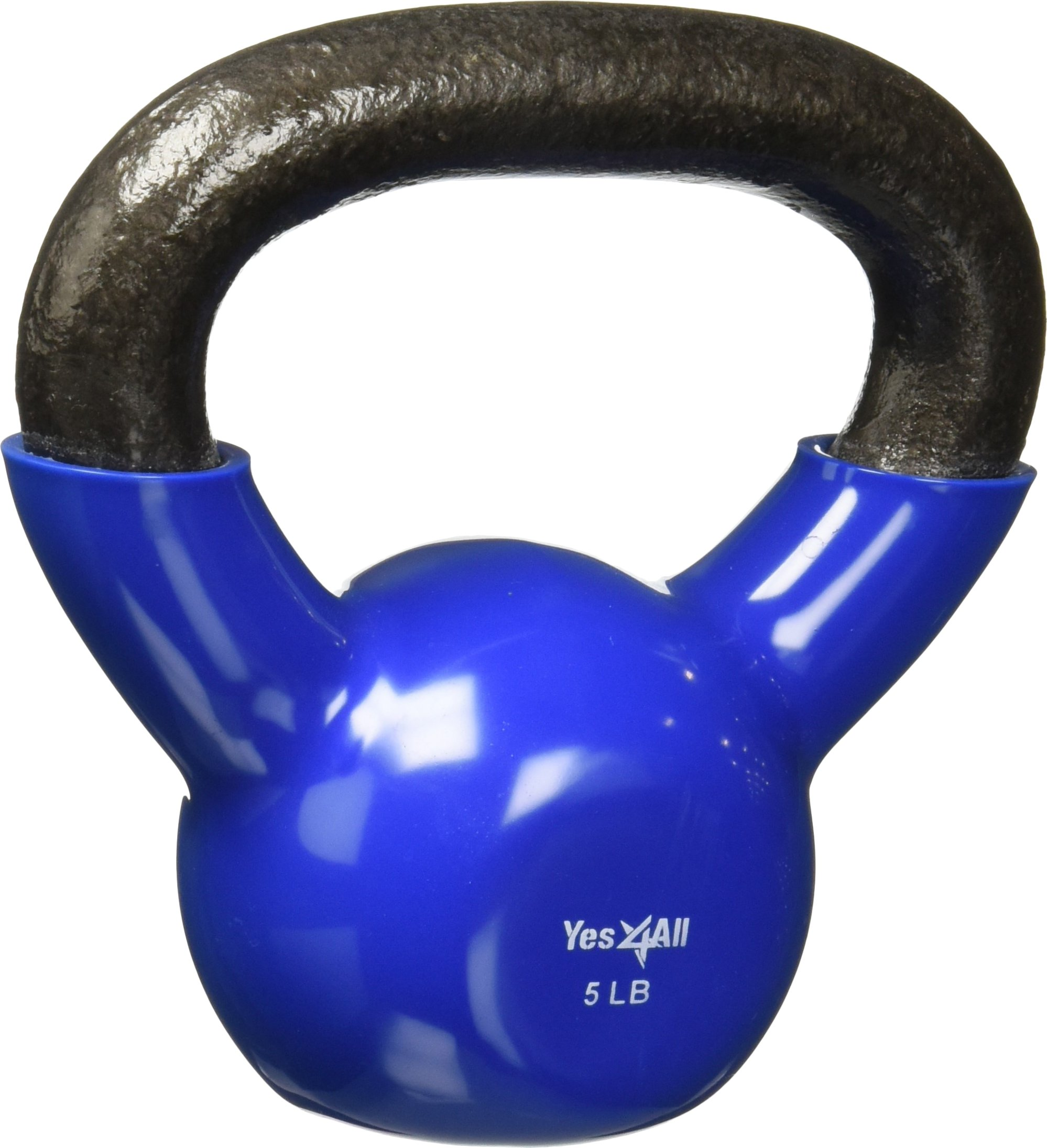 Yes4All Vinyl Coated Kettlebell Weights Set - Great for Full Body Workout and Strength Training - Vinyl Kettlebell 5 lbs by Yes4All (Image #2)