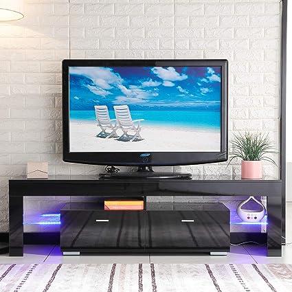 New Retail Global NRG Black LED TV Stand Unit Cabinet Shelves Console  Furniture 2 Drawers Black