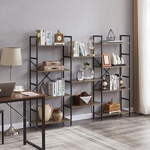 Superjare Triple Wide 4-Tier Bookshelf