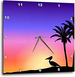 3dRose DPP_76698_3 Tropical Palm Trees and Pelican Silhouette at Sunset Beach Nautical Seaside Scene Wall Clock, 15 by 15-Inch
