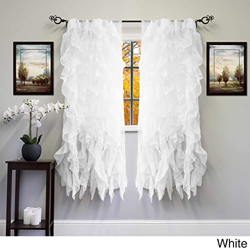 bed bath n more Voile 50 x 63 Vertical Ruffle Tier Window Curtain Panel – 50 x 63 White