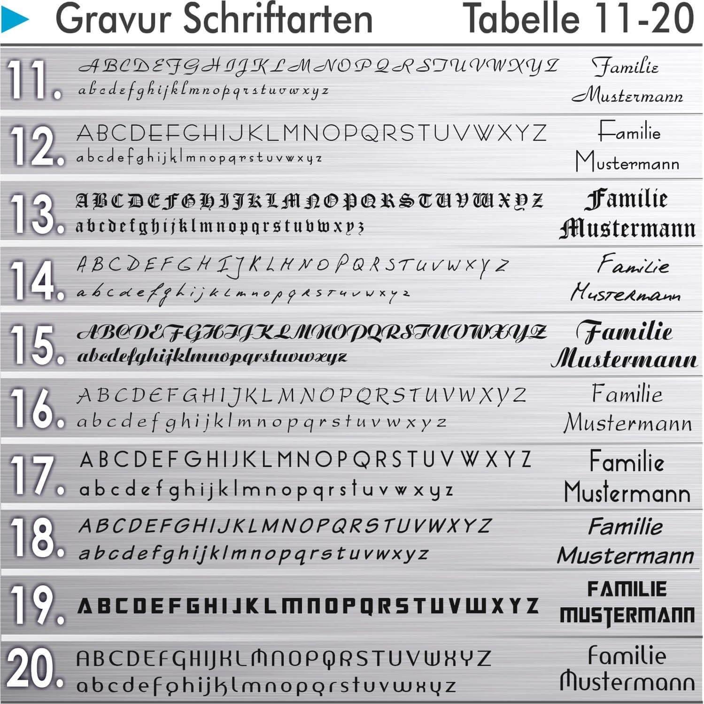 T/ürklingel Gravur-Service verschiedene Farben w/ählbar mit Gravur LED beleuchteter Klingeltaster - aus Edelstahl