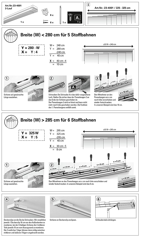 140-225 cm Alluminio Gardinia Set Completo per Tende a Pannello Emia  allungabili 2 binari con Accessori lapetiteboite.eu