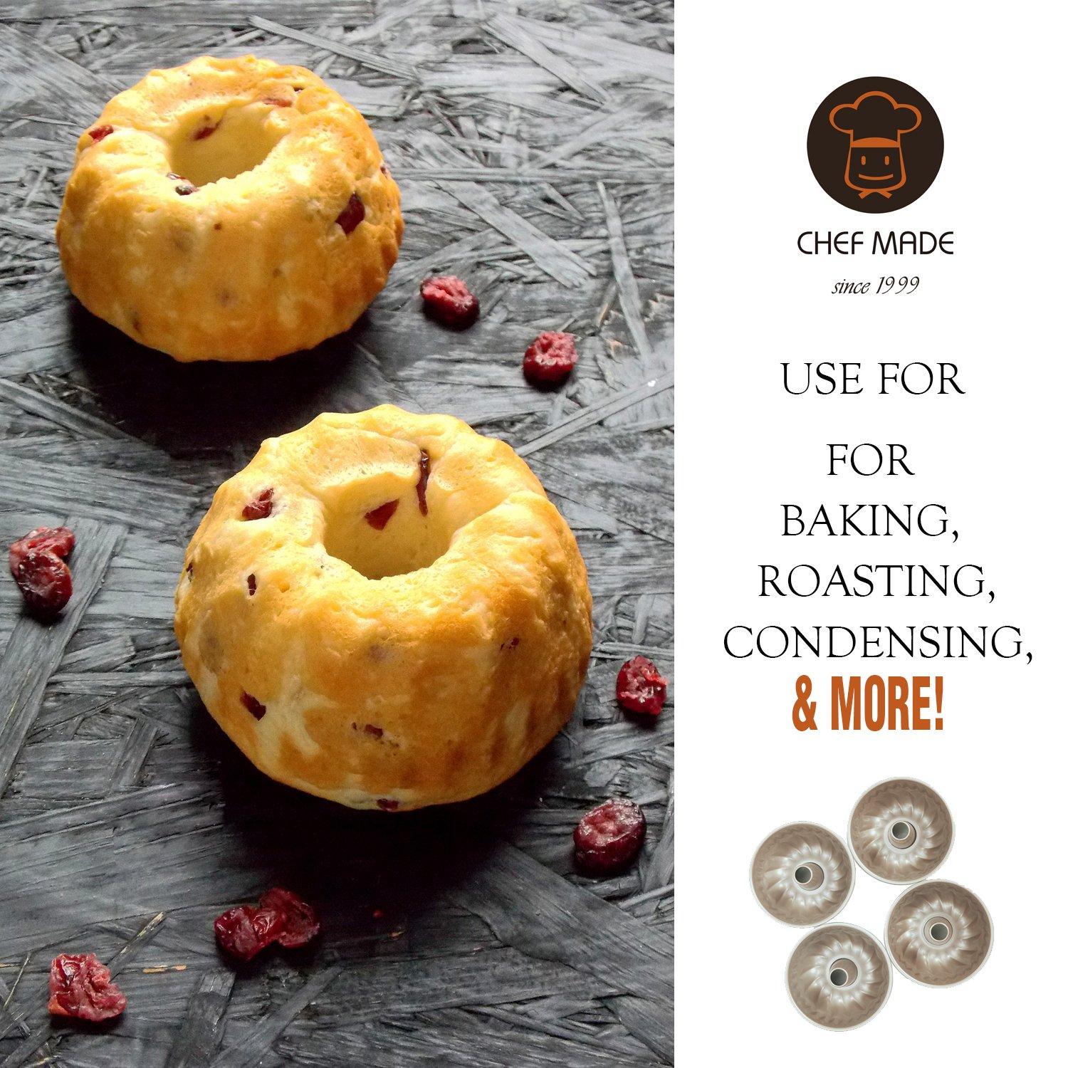 CHEFMADE 4PCS Mini Bundt Pan Set, 4-Inch Non-stick Carbon Steel Kugelhopf Mold, FDA Approved for Oven and Instant Pot Baking (Champagne Gold) by CHEFMADE (Image #4)