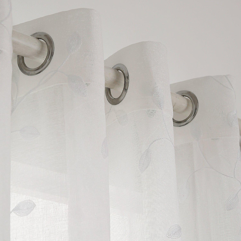 Deconovo Tende Trasparenti Voile Ricamate a Fogli con Occhielli per Camera da Letto Beige 132x214 CM 2 Pannelli