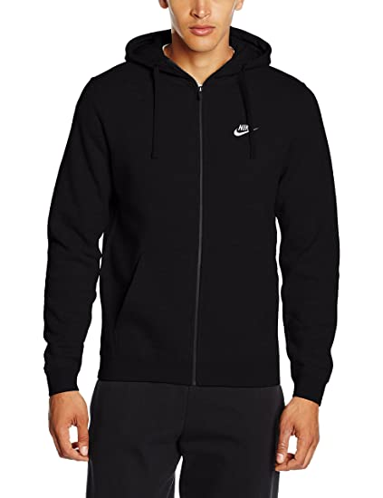 Nike Mens Sportswear Full Zip Club Hooded Sweatshirt (Black/White, X-Small