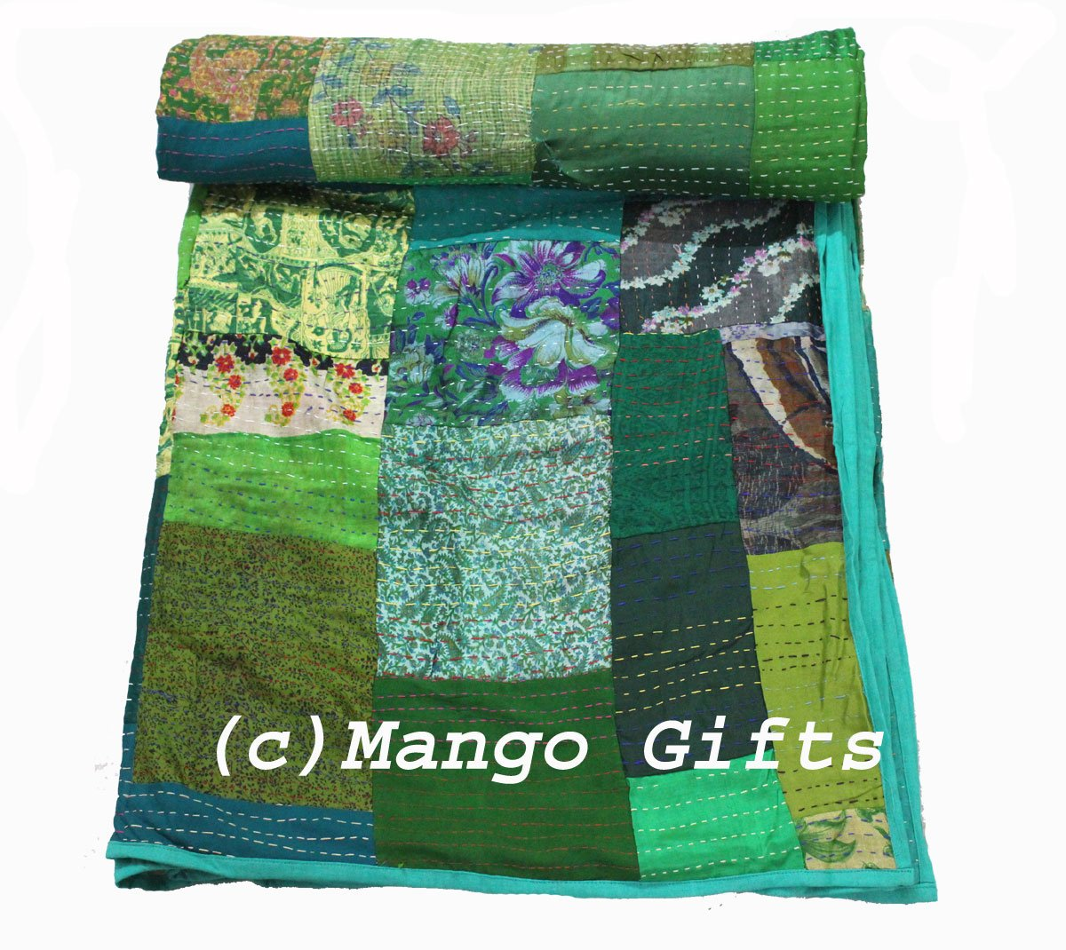 Traditional Indian Silk Patola Quilt , Queen Size 82'' X 102''inches , Kantha Stitch Gudri Bedspread and Bed Cover and Raill , Red Color, By Mango Gifts India