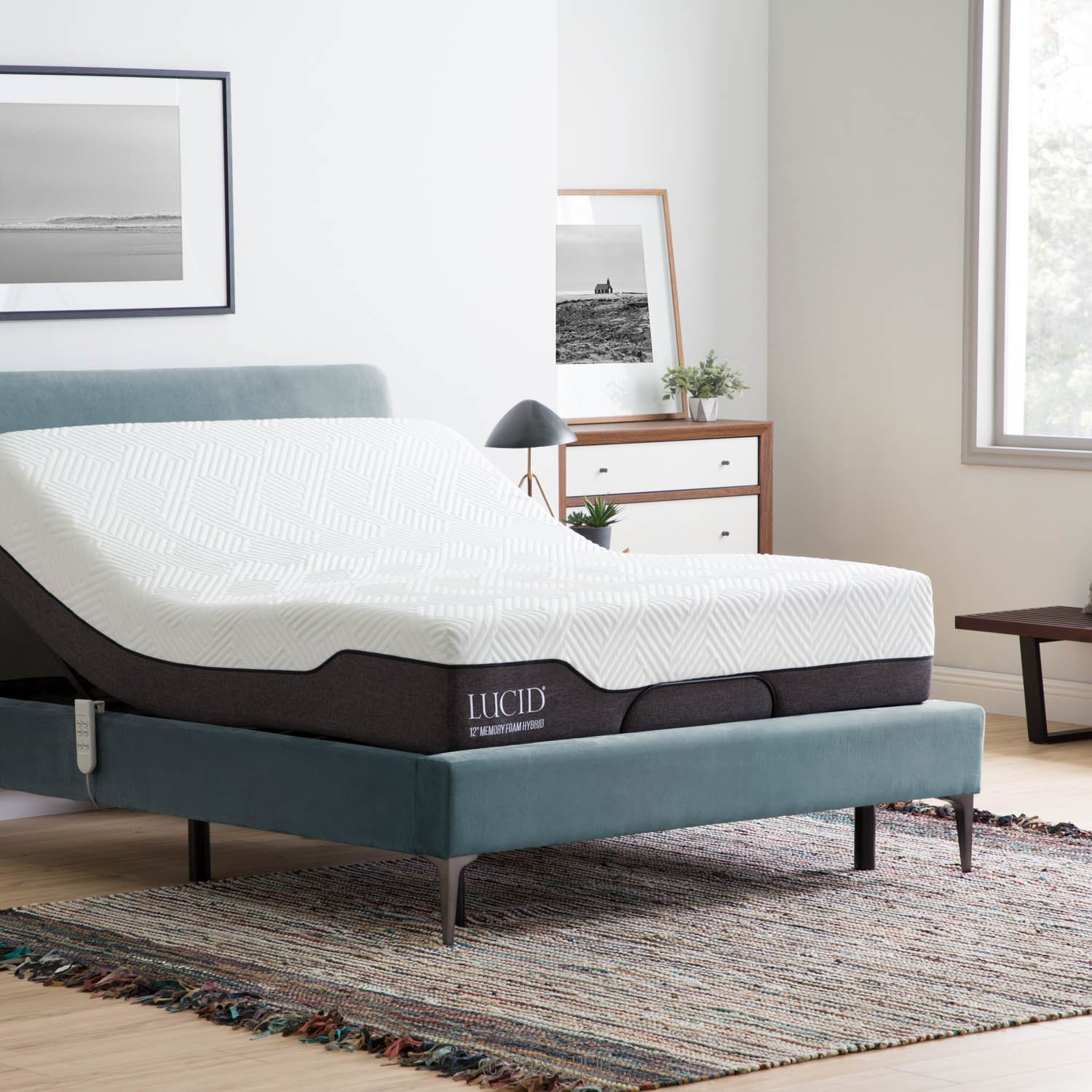 LUCID L100 Adjustable Bed Base Steel Frame - 5 Minute Assembly - Head and Foot Incline - Wired Remote Control - Queen by LUCID (Image #5)