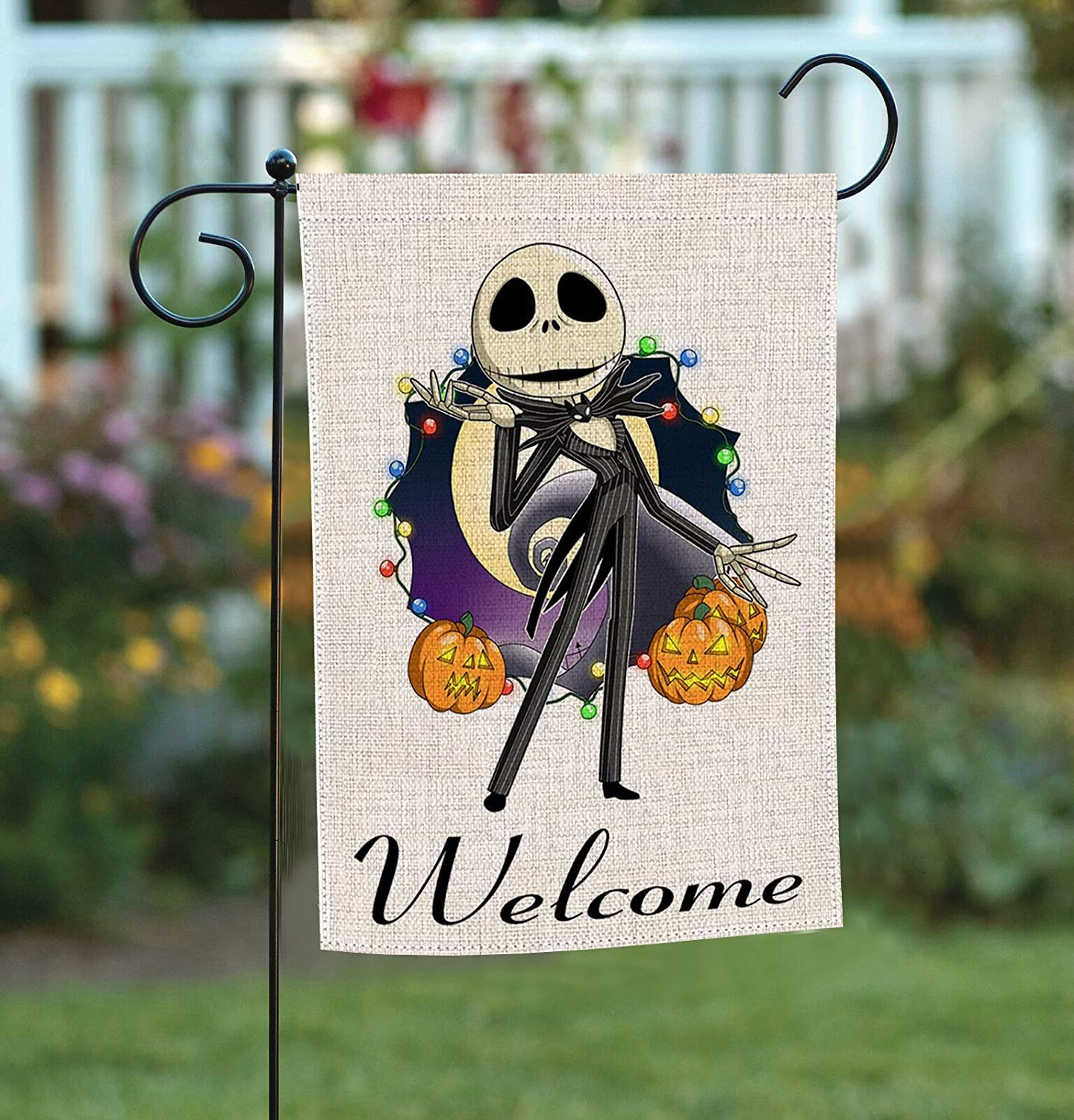 Bysincy Halloween Home Garden Flags Double Sided, Jack House Yard Decoration, America Patriotic Rustic Seasonal Yard Flags 12.5 x 18 Inch